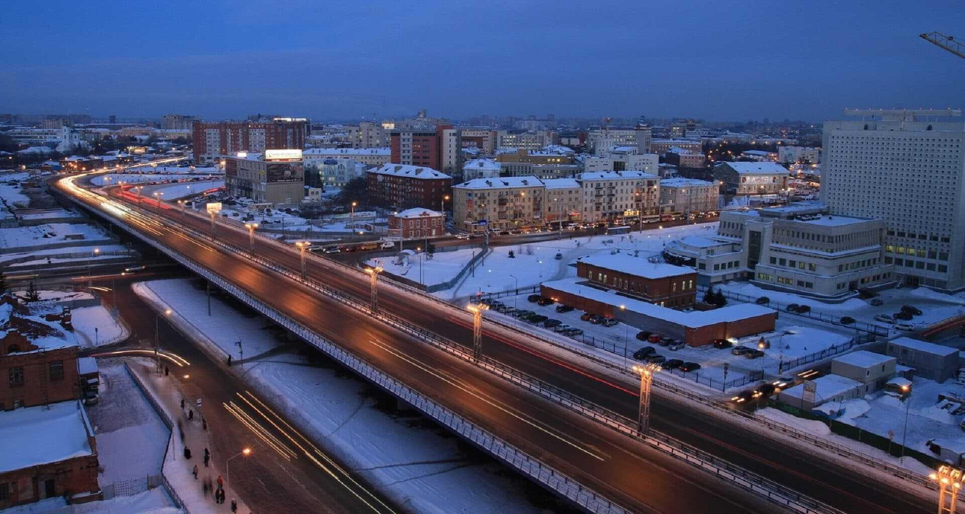 фото вид на вечерний Омск зимой